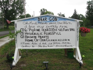 """I love my earthly home,"" sign pleads for protection from fracking in Bradford County, PA in June 2011"