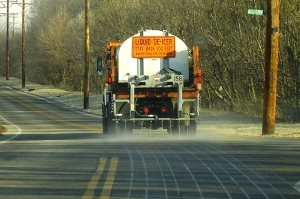 A Salt Brine Truck At Work