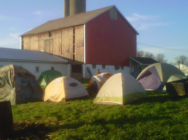 Morning sun warms the tents by the barn at Maggie's Farm in Bessemer, PA on Day 2 of the Shalefield Justice Action Camp (November 11th, 2012).