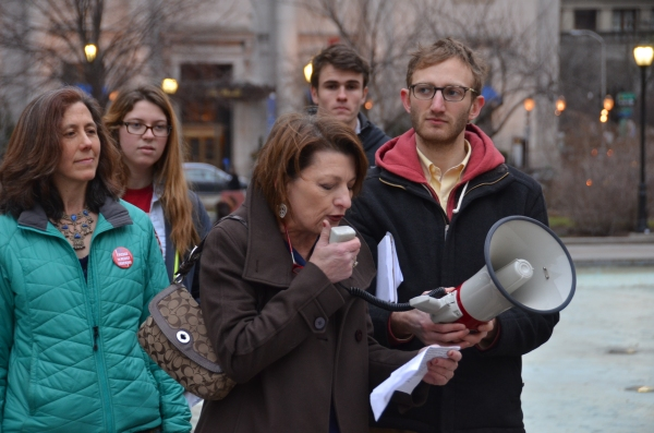 Mary Adamson, a registered nurse with PASNAP, speaks out against the silencing of health professionals by Act 13. On left, Iris Marie Bloom. On right, Sam Bernhardt. Photo: Jesse Brown. Philadelphia, Feb 13 2013