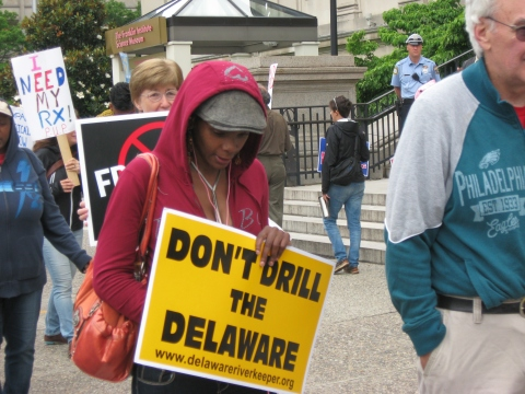 """""""Don't drill the Delaware"""" and """"No fracking"""" messages mix it up with """"Education not incarceration"""" and """"I need my RX"""" signs at anti-Corbett protest in Philadelphia, June 14 2013. Photo: Iris Marie Bloom"""