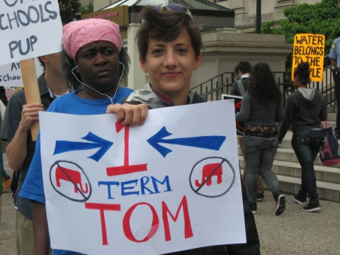 """Protesters proclaiming """"One-term Tom"""" delayed a keynote address this morning by PA Governor Tom Corbett. Photo: Iris Marie Bloom, June 14 2013"""
