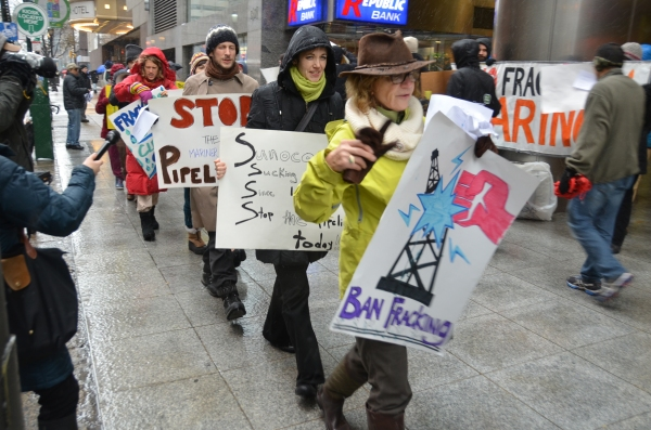 Fracking and pipeline opponents brave the weather to fight the pipeline!