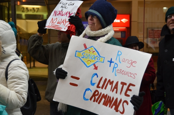 Sunoco + Range Resources = Climate Criminals! Photo: Jesse Brown