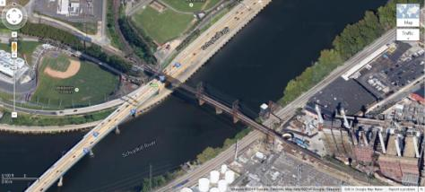 The Schuylkill Arsenal Bridge over the University of Pennsylvania's fields, the Schuylkill Expressway, and the Schuylkill River. From Google Maps