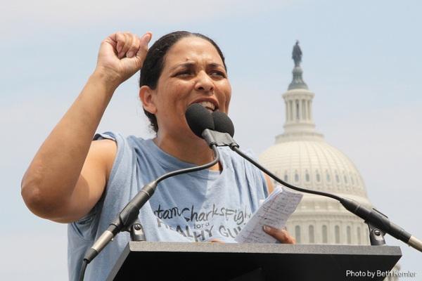 Cherri Foytlin speaks. Photo: Beth Kemler