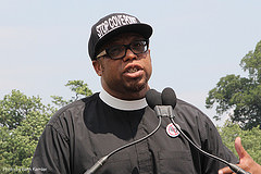 Rev. Lennox Yearwood speaking at Stop Fracked Gas Exports rally