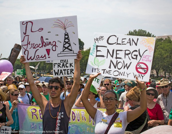 """No Fracking Way"": Communities impacted by fracking swelled the crowd"