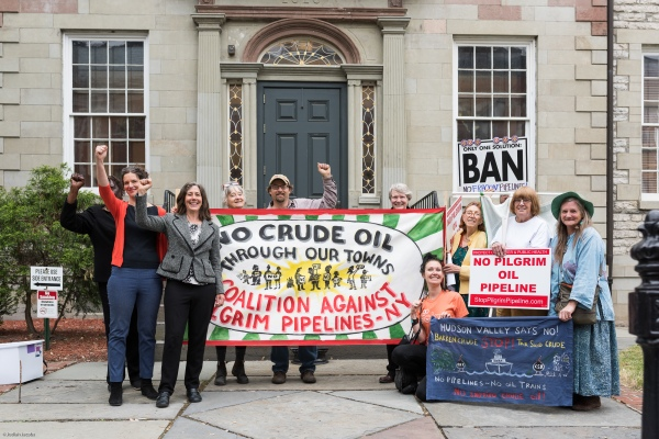 Coalition Against Pilgrim Pipelines-NY in front of Ulster County Courthouse, Kingston NY Rally. Photo: Jodiah Jacobs