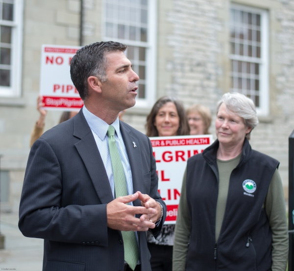 Ulster County Chief Executive Mike Hein speaks at Rally for Clean Safe Energy on May 18th in Kingston. Photo: Jodiah Jacobs.