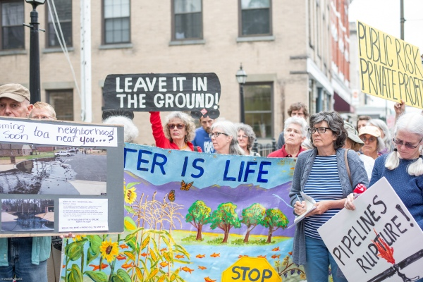 """Water is Life"": signs at Rally for Safe Clean Energy 5/18. Photo: Jodiah Jacobs"