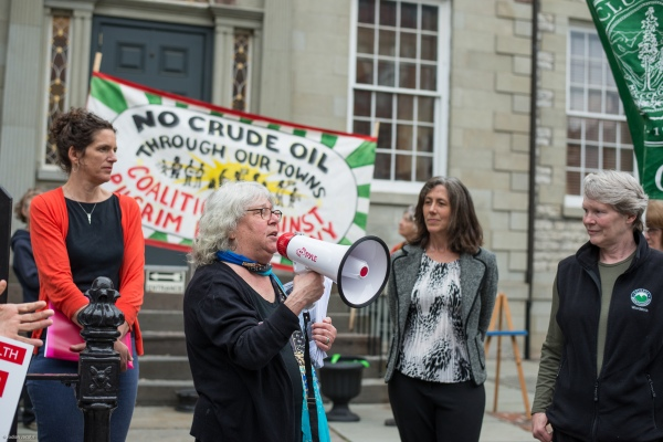 Sue Rosenberg of Saugerties speaks at rally in Kingston opposing Pilgrim. Photo: Jodiah Jacobs
