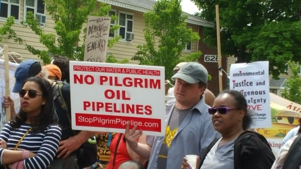 Albany Breakfree Rally Ezra Prentice Homes w Pilgrim Pipelines sign